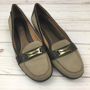Life Stride Chloe Taupe & Brown Loafers 9.5 Flats